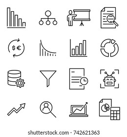 Simple set of analysis related outline icons. Elements for mobile concept and web apps. Thin line vector icons for website design and development, app development. Premium pack.
