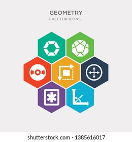 simple set of angle, asterisk, diameter, dimensions icons, contains such as icons disk, dodecahedron, double hexagon of small triangles and more. 64x64 pixel perfect. infographics vector