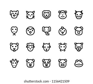 Simple Set of Animal Face Related Vector Line Icons. Contains such Icons as dog, cat, lion, monkey, cow and More. pixel perfect vector icons based on 32px grid editable strokes.