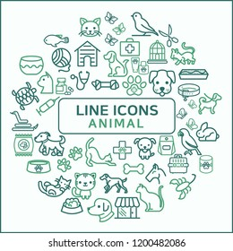 Simple Set of Animal Related Line Icons. Outline icon set, Animal and pet shop. Collection Of pet, vet, dog And Other Elements.