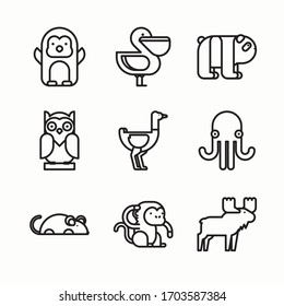 Simple Set Animals Vector line Icons