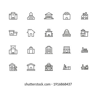 Simple set of architecture icons in trendy line style. Modern vector symbols, isolated on a white background. Linear pictogram pack. Line icons collection for web apps and mobile concept.