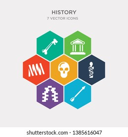 simple set of arrow, bricks, mummy, skull icons, contains such as icons ruler, greek, bone and more. 64x64 pixel perfect. infographics vector