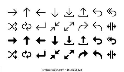 Simple Set of Arrows Vector Glyph and Line Icons including right, up, left, down, download, upload, back, repply, shuffle, loop, enter, minimize, enlarge, forward, split
