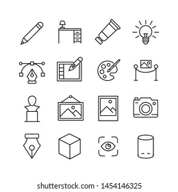 Simple set of art icons in trendy line style. Modern vector symbols, isolated on a white background. Linear pictogram pack. Line icons collection for web apps and mobile concept.