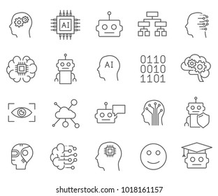 Simple Set of Artificial intelligence Related Vector Line Icons. Contains such Icons as idea, thoughts, project, creativity and more.