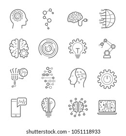 Simple Set of Artificial Intelligence Related Vector Line Icons. Contains such Icons as Face Recognition, Algorithm, Self-learning and more. Editable Stroke. EPS 10