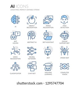 Simple Set of Artificial Intelligence Related Vector Line Icons. Contains such Icons as Object Recognition, Machine Learning, Support Bot and more. Editable Stroke. 64x64 Pixel Perfect.