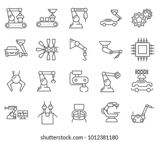 Simple Set of Assembly line Related Vector Line Icons. Contains such Icons as automation, machinery, production line, robot, milling machine, manufacturing, engineering and more.