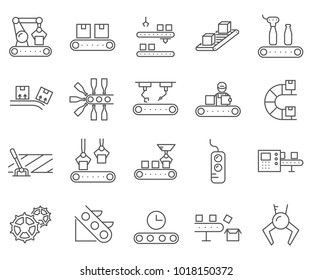 Simple Set of Assembly line Related Vector Line Icons. Contains such Icons as production, equipment, robots, automation, machinery, production line, workshop, factory and more.