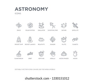 simple set of astronomy vector line icons. contains such icons as moon, moon phases, nebula, neptune, orbit, planetarium, planets, pluto, quasar and more. editable pixel perfect.