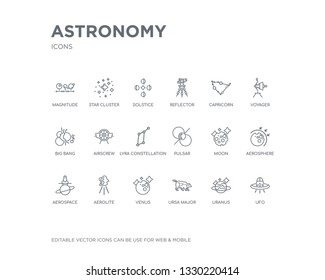 simple set of astronomy vector line icons. contains such icons as ufo, uranus, ursa major, venus, aerolite, aerospace, aerosphere, moon, pulsar and more. editable pixel perfect.