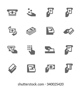 Simple Set of ATM Related Vector Icons. Contains such icons as money, ATM machine, sliding card icon and more. Modern vector pictogram collection.