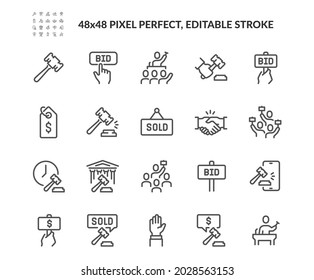 Simple Set of Auction Related Vector Line Icons. Contains such Icons as Price Tag, Deal, Auctioneer and more. Editable Stroke. 48x48 Pixel Perfect.