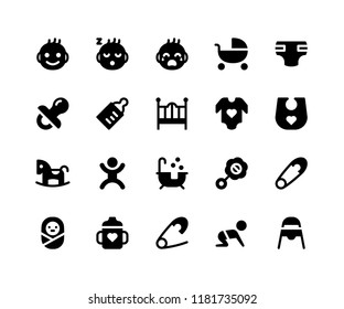 Simple Set of Baby Related Vector Glyph Icons. Contains such Icons as baby, stroller, diaper, pacifier, bottle and More. pixel perfect vector icons based on 32px grid. Well Organized and Layered.