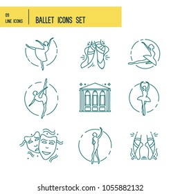 Simple Set of Ballet Vector Line Icons. Contains such Icons as ballet classes school, theatre, flyer festival etc.