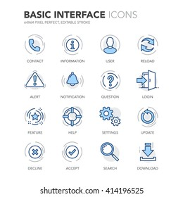 Simple Set of Basic Interface Related Color Vector Line Icons.  Contains such Icons as Contact, Info, Alert, Notification, Settings, User Profile and more. Editable Stroke. 64x64 Pixel Perfect.