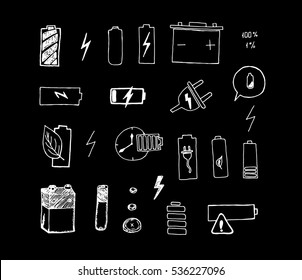 Simple Set of Batteries. Battery icons set. Electronic power. Vector illustration. Doodle draw. Sketch on black background