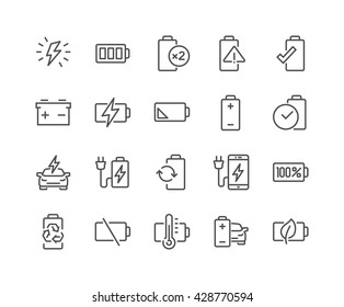 Simple Set of Batteries Related Vector Line Icons.  Contains such Icons as Car Charge Station, Recycle, Phone Charging, Battery Life Time and more.  Editable Stroke. 48x48 Pixel Perfect.