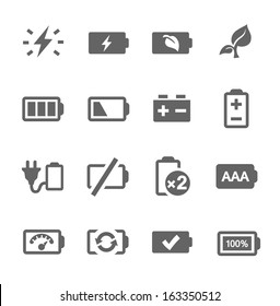Simple set of battery related vector icons for your design.