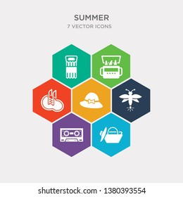 simple set of beach bag, cassette, firefly, pamela icons, contains such as icons swimming pool, portable fridge, air mattress and more. 64x64 pixel perfect. infographics vector