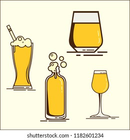 Simple set of beer glass icons of oktoberfest. Oktoberfest Collection. Set of vector flat beer icons with froth. Beer bottle, glass. Vector flat illustration.