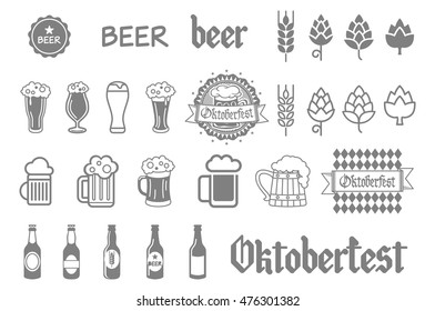 Simple set of beer related vector icons for your design art
