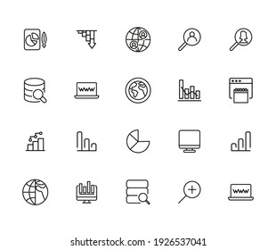 Simple set of big data related outline icons. Elements for mobile concept and web apps. Thin line vector icons for website design and development, app development. Premium pack.