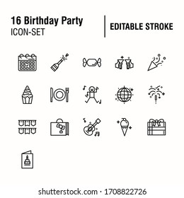 Simple Set of Birthday Party Related Vector Line Icons