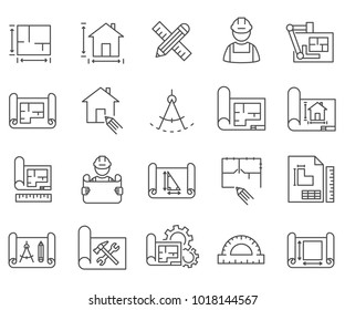 Icon for blueprint images stock photos vectors shutterstock simple set of blueprint related vector line icons contains such icons as scheme sketch malvernweather Images