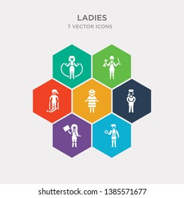 simple set of bride with bouquet, woman reading, police woman, firewoman icons, contains such as icons skier woman, repairing, exercising and more. 64x64 pixel perfect. infographics vector
