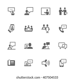 Simple Set of Business Communication Related Vector Icons. Contains Such Icons as Meeting, Conference call, One on one, Handshake and More.