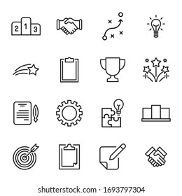 Simple set of business icons in trendy line style. Modern vector symbols, isolated on a white background. Linear pictogram pack. Line icons collection for web apps and mobile concept.