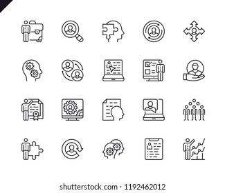 Simple Set of Business Management Related Vector Line Icons. Linear Pictogram Pack. Editable Stroke. 48x48 Pixel Perfect Icons.