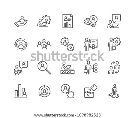 Simple Set of Business Management Related Vector Line Icons.  Contains such Icons as Inspector, Personal Quality, Employee Management and more. Editable Stroke. 48x48 Pixel Perfect.