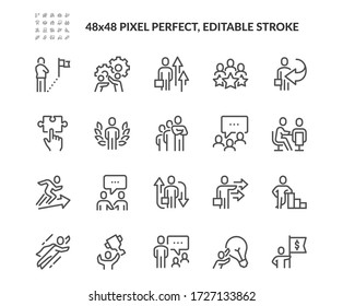 Simple Set of Business People Concept Related Vector Line Icons.  Contains such Icons as Goal, Management, Achieve and more. Editable Stroke. 48x48 Pixel Perfect.