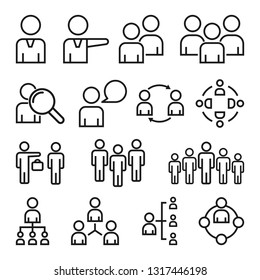 Simple Set of Business People. Contains such Icons as Meeting, Business Communication, Teamwork, connection, speaking and more. Related Vector Line Icons
