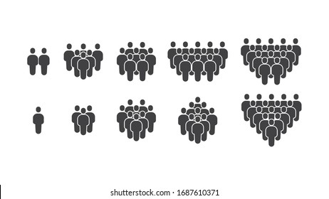 Simple Set of Business People Group Modern and Trendy Stick Figure Person Human Avatar Solid Glyph Icons Vector. Such Icons as Team, Teamwork, Community, Social, Harmony, Member, Hierarchy, Ranking.