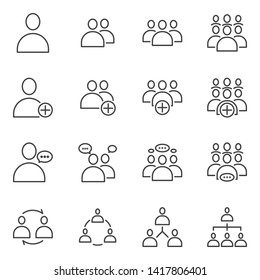 Simple Set of Business People Related Vector flat outline Icons. Contains such as Meeting, Business Communication, Teamwork, connection, speaking and more