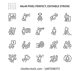 Simple Set of Business People Related Vector Line Icons.  Contains such Icons as New Course, Confused Business man, Opportunities and more. Editable Stroke. 48x48 Pixel Perfect.