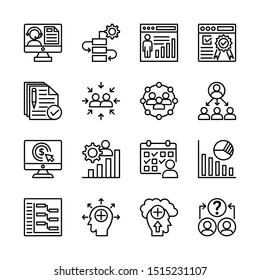 Simple Set of Business Related Vector Line Icons. Contains such Icons as One-on-One Meeting, Workplace, Business Communication, Team Structure and more. Editable Stroke.