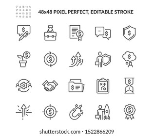 Simple Set of Business Related Vector Line Icons. Contains such Icons as Handshake, Finance, Management and more. Editable Stroke. 48x48 Pixel Perfect.