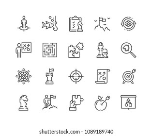 Simple Set of Business Strategy Related Vector Line Icons. Contains such Icons as Target Audience, Research, Plan, Scheme and more. Editable Stroke. 48x48 Pixel Perfect.