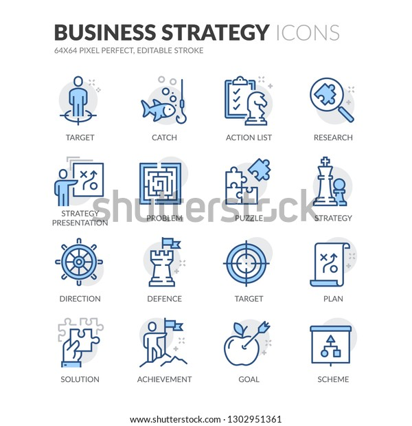 Simple Set Business Strategy Related Vector Stock Vector