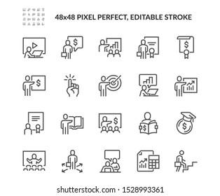 Einfache Auswahl an Vektorgrafik-Symbolen für Business Training. Enthält Symbole wie Präsentation, Klasse, Mentoring und mehr. Bearbeitbarer Stroke. 48x48 Pixel perfekt.