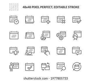 Simple Set of Calendar Related Vector Line Icons.  Contains such Icons as Appointment, Date Settings, Working Schedule and more. Editable Stroke. 48x48 Pixel Perfect.