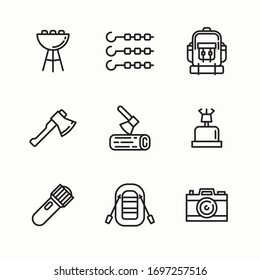 Simple Set Camping Collection Vector line Icons