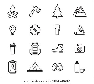 Simple Set of camping and hiking gear Related Vector icon design. Contains such Icons as mountain, campfire, axe, tree, compass, torchlight, knife, backpack, medical kit, tent, binocular, thermos,