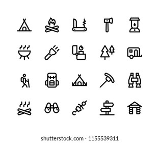 Simple Set of Camping Related Vector Line Icons. Contains such Icons as Camp, Fire, Knife, Hatchet, Lamp and More. pixel perfect vector icons based on 32px grid editable strokes.