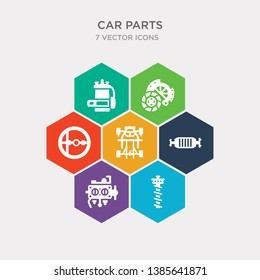 simple set of car camshaft, car carburettor, car catalytic converter, chassis icons, contains such as icons choke, clutch, coil and more. 64x64 pixel perfect. infographics vector